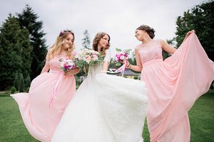 Stunning young bride and bridesmaids