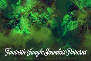 Fantastic Jungle Seamless Patterns