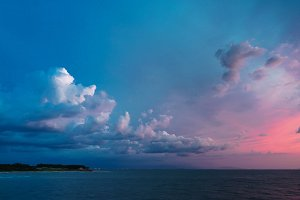Dramatic sky after sunset on the sea