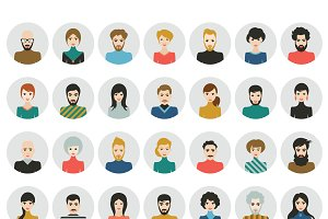 People heads icons. Face avatar