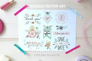 Wedding doodle vector set