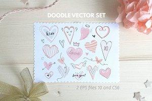 Doodle hearts vector set