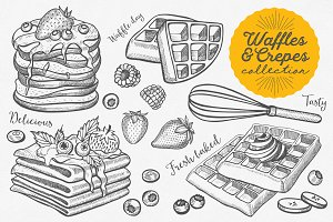 Waffles & Crepes hand-drawn graphic
