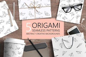 White origami seamless patterns