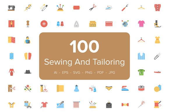 Flat Sewing And Tailoring Tool Icons