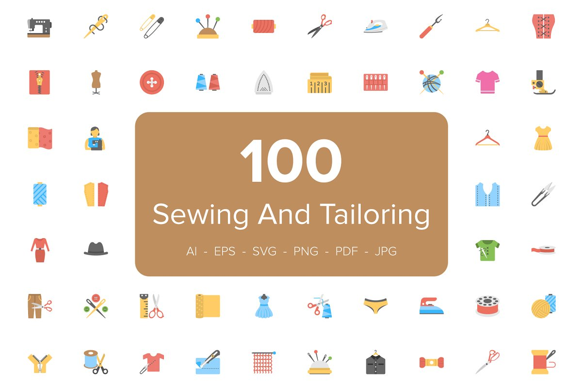 Flat Sewing And Tailoring Tool Icons Creative Market