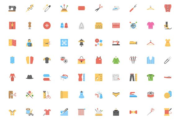 Flat Sewing And Tailoring Tool Icons in Graphics - product preview 1