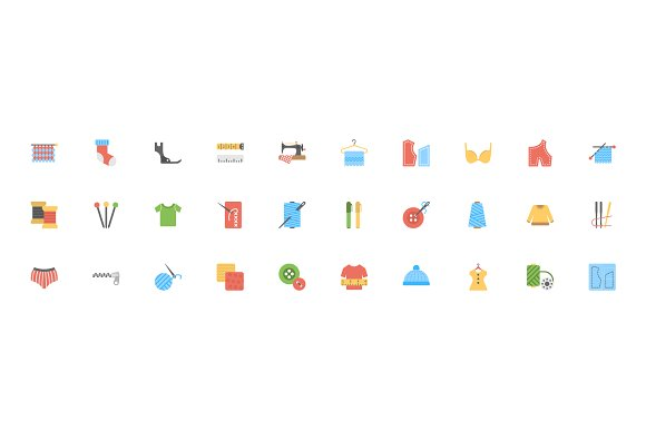 Flat Sewing And Tailoring Tool Icons in Graphics - product preview 2
