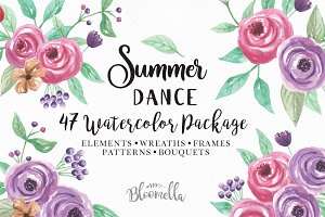 Summer Watercolor Flowers Package