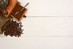 Coffee Beans and Grinder Copy Space