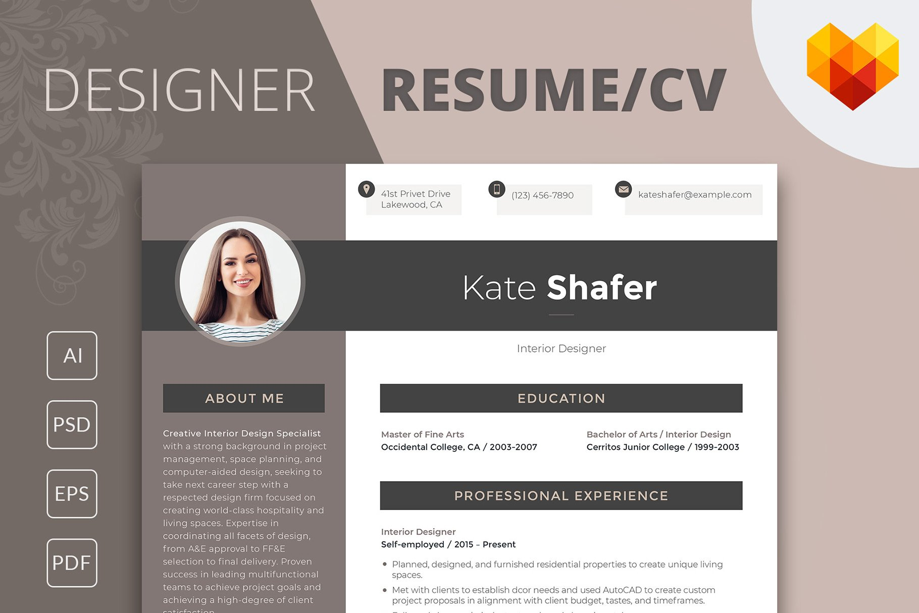 editable resume interior designer resume templates creative market - Interior Designer Resume