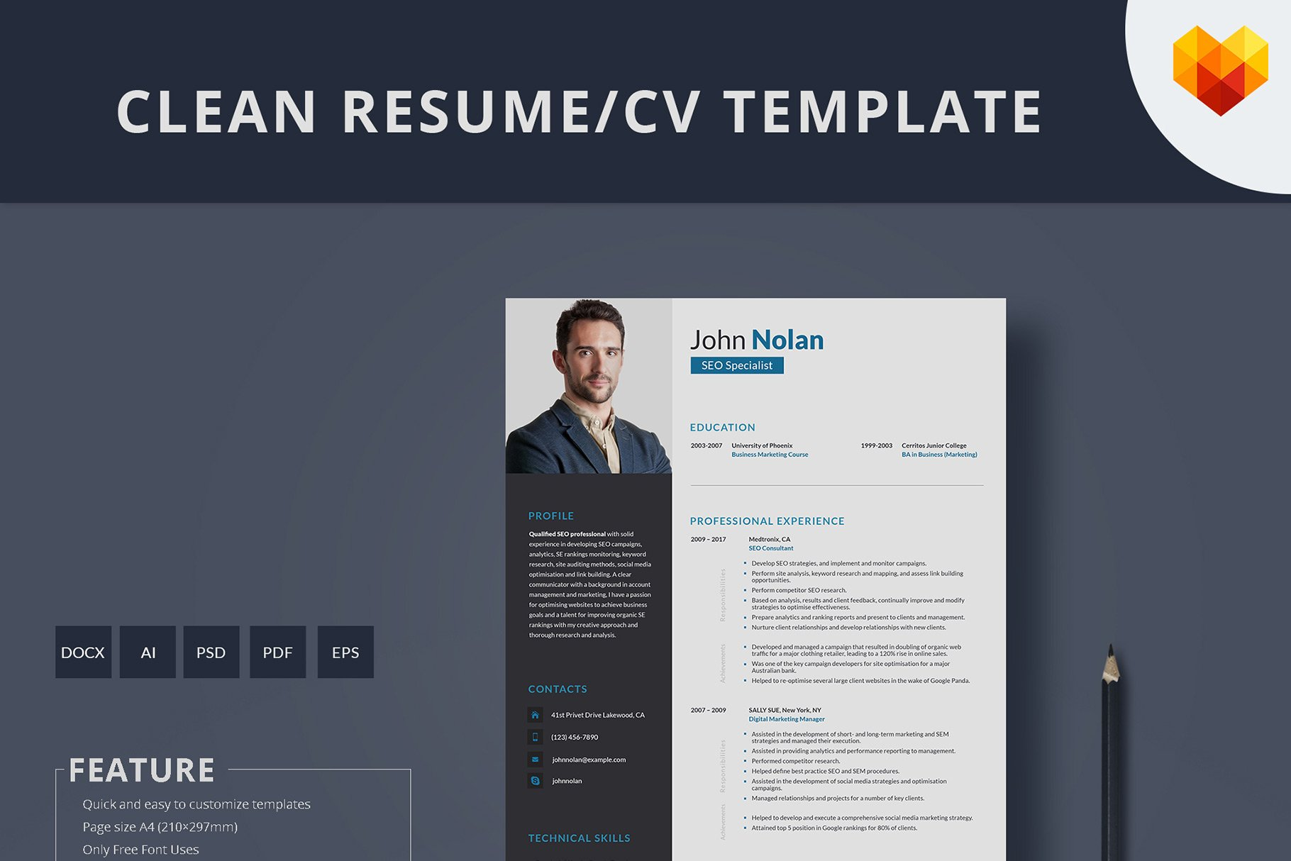 SEO Specialist Resume Template ~ Resume Templates ~ Creative Market
