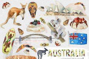 Watercolor Australia Travel Clipart