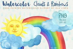 Clouds & Rainbows Watercolor Set