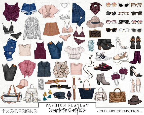 Fashion Elements Clip Art Illustrations Creative Market