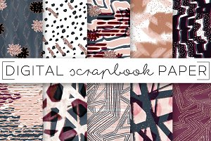 Blue Maroon Abstract Digital Papers