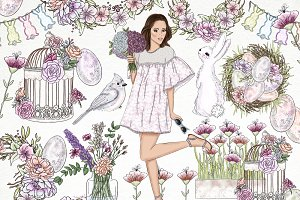 Spring Easter Fashion Girl Clip Art
