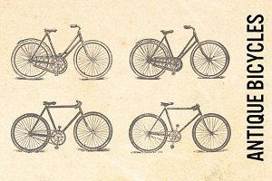 Antique Bicycles Transparent Clip Ar