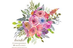 Watercolor Pastel Florals Clipart
