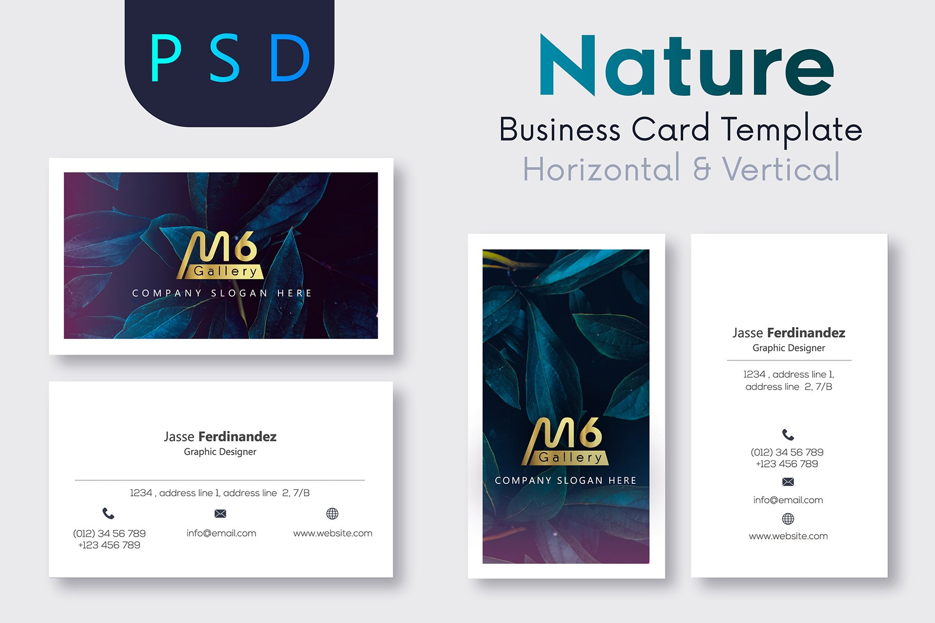 Nature business card template s42 business card templates nature business card template s42 business card templates creative market reheart Images