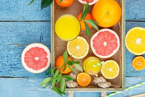 Citruses and orange juice