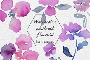 Abstract Flowers watercolor Clip art