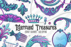 Mermaid Treasures PNG Graphics