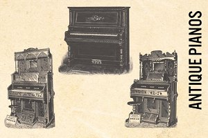 Antique Pianos - Vintage Clip Art