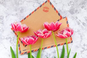 Pink tulips and vintage envelopes