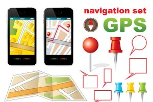 Navigation set with icons GPS