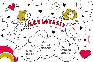 Sky love set. Illustrations&patterns