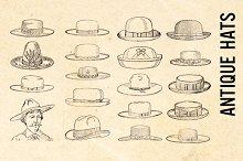 Vintage Retro Hats Clip Art