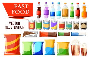 Fast food snacks and drinks flat