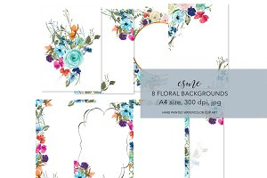 Watercolor Floral Background Set