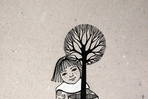 girl holding tree