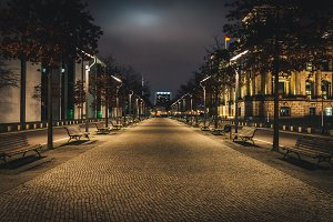 Night alley in Berlin