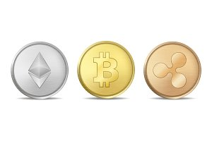 Bitcoin, Etherium, Ripple.
