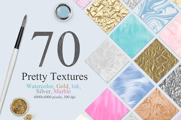 70 Watercolor, Gold, Marble Textures in Textures