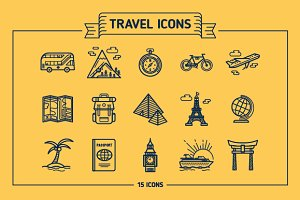 Travel, Outline & Colored Icons