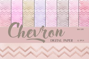 Pastel Chevron Digital Papers