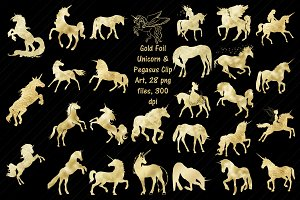 Gold Foil Unicorn/Pegasus ClipArt