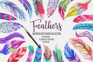 Watercolor Feathers Bundle