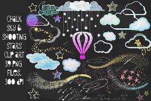 Chalk Sky Doodles Clip Art