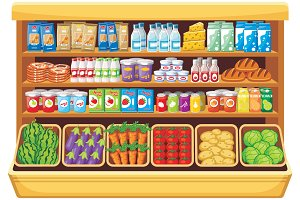 Shelves products in the supermarket