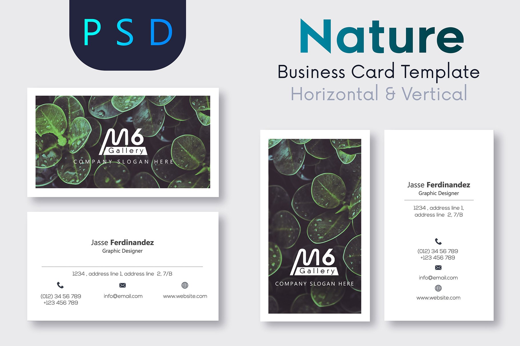 Nature business card template s40 business card templates nature business card template s40 business card templates creative market reheart Images