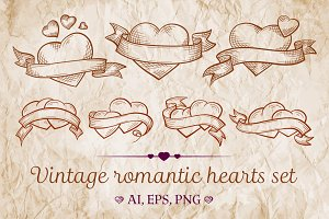 Vintage romantic  hearts set