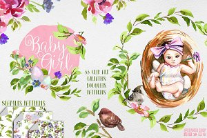 Baby shower girl, birds and nest