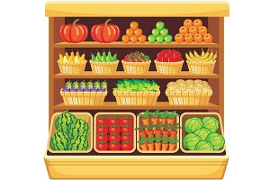 Shelves fruits and vegetables