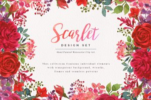 Scarlet Watercolor Clip Art Set