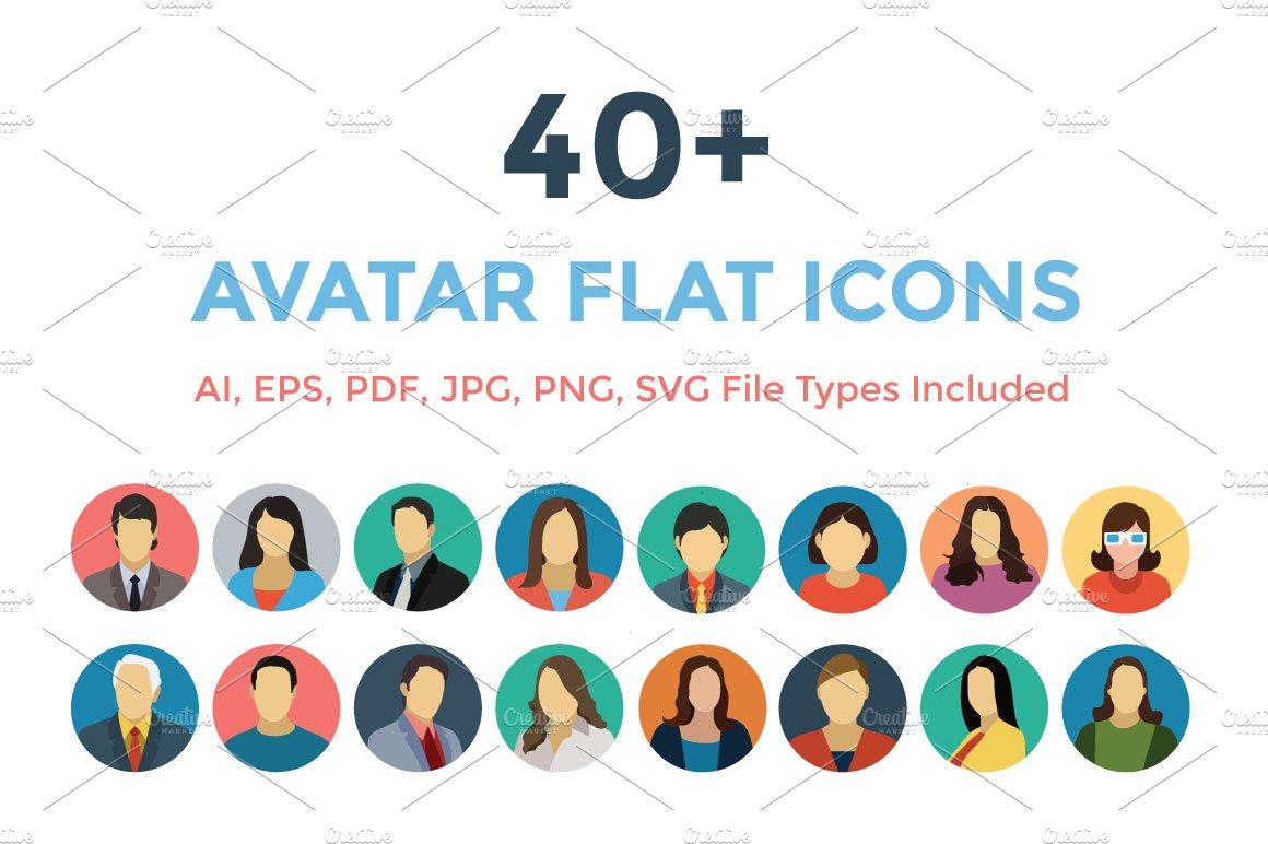40 avatars flat icons icons creative market